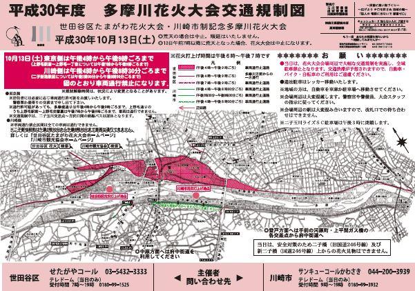 多摩川花火大会の交通規制